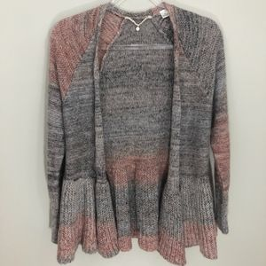Anthropologie Knitted & Knotted Peplum Cardigan XS